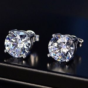 4 ct Solitaire Diamond 925 Silver Stud Earrings